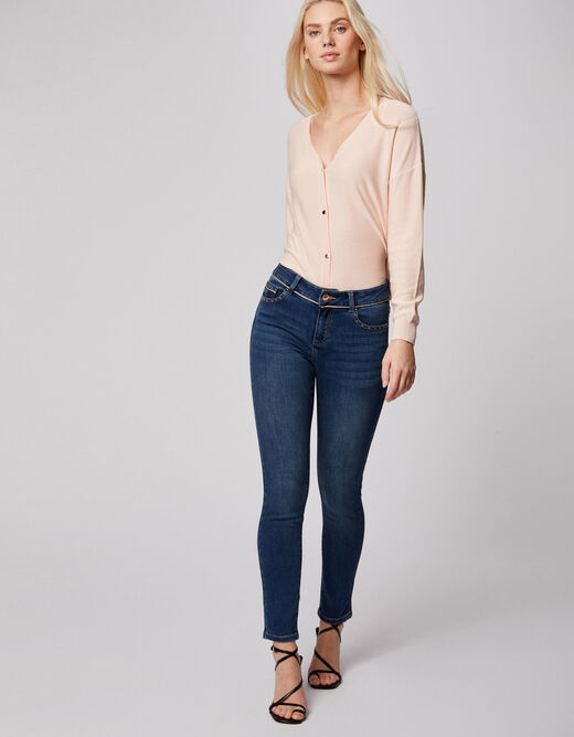 Smalle jeans met lage taille en studs jean stone vrouw