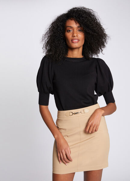 Jupe ajustee taille haute a ornement sable femme