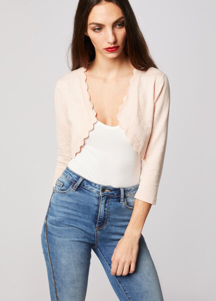 Gilet bolero a bords festonnes rose pale femme