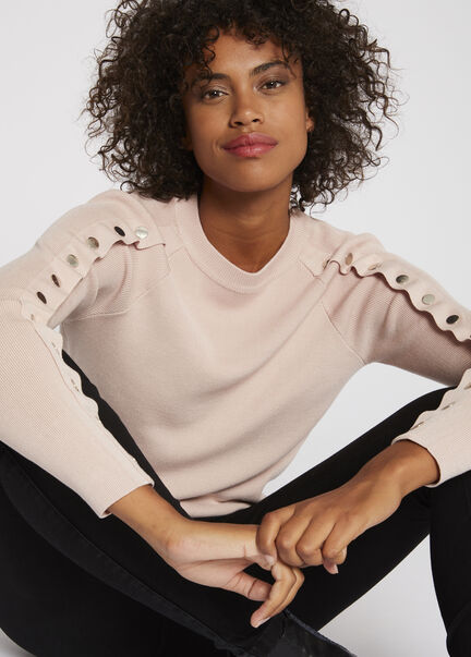 Pull manches longues a boutons pression rose femme