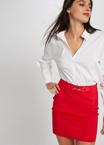 Jupe ajustee taille haute a ornement rouge femme