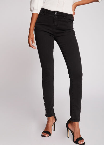 Jeans slim taille haute avec boutons gris anthracite femme