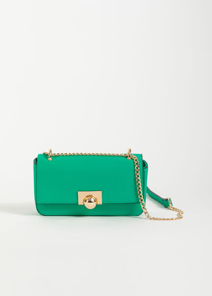 Sac rectangulaire a bandouliere chaine vert femme