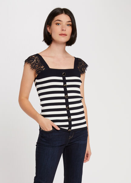 Pull manches courtes a rayures marine femme