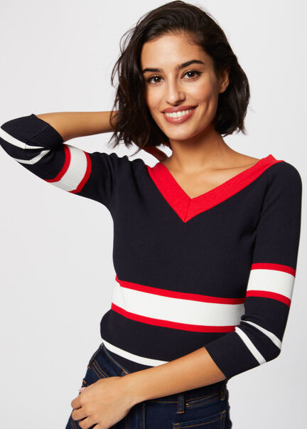 Pull manches 34 bandes contrastantes marine femme