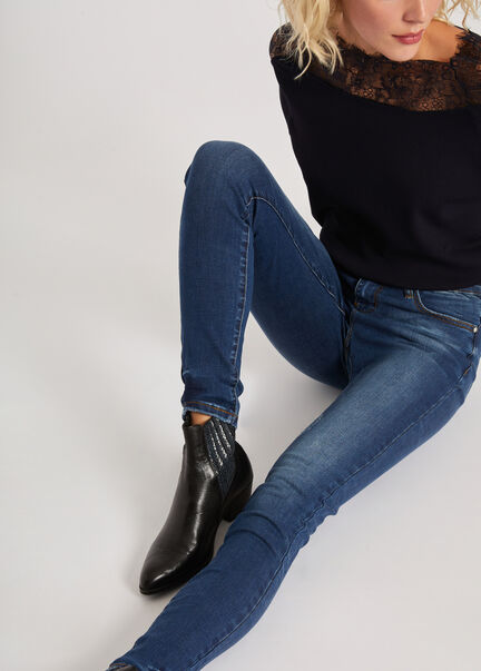 Jeans coupe ajustee taille haute use jean stone femme