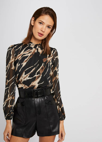 T shirt manches 34 imprime animalier multico femme