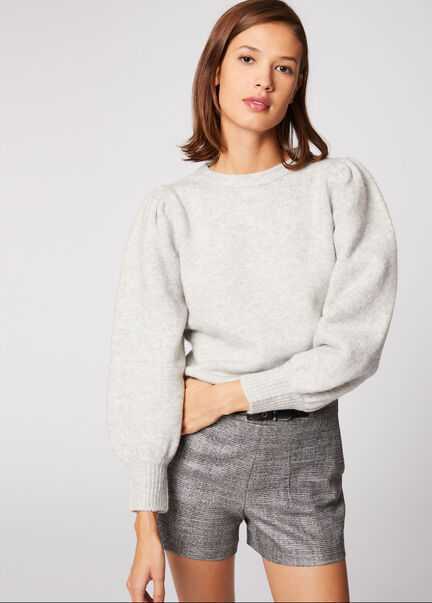 Pull manches longues bouffantes gris clair femme