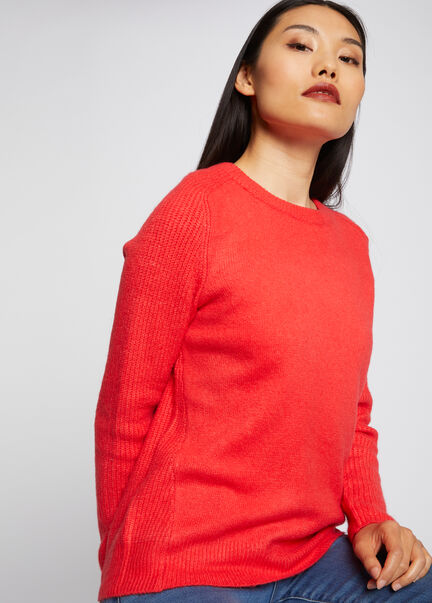 Pull manches longues col rond corail femme