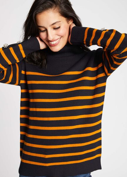 Pull manches longues raye col roule marine femme