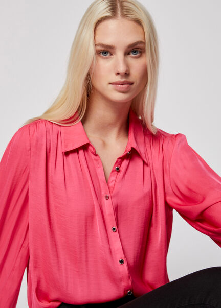 Chemise manches longues col a revers fuchsia femme
