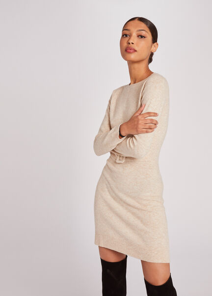 Robe pull droite taille avec boucle beige femme
