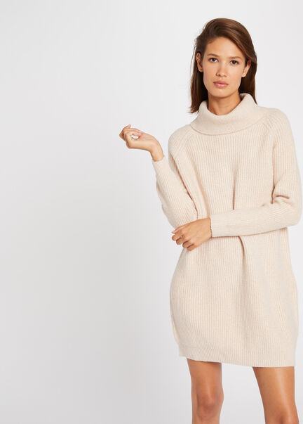 Robe pull droite a col roule rose pale femme