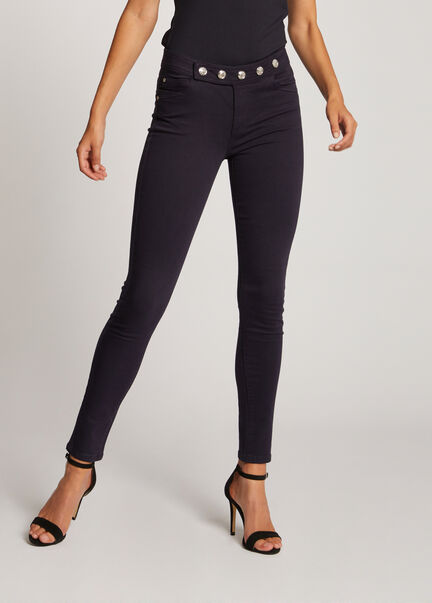 Jeans skinny taille basse a boutons marine femme