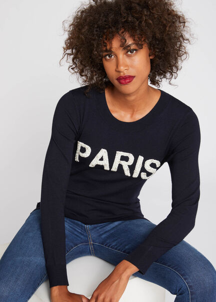 Pull manches longues inscription perles marine femme