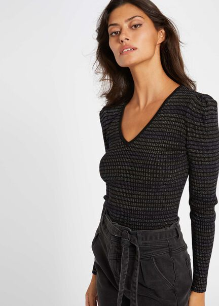 Pull manches longues a rayures multico femme