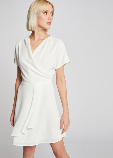 Robe patineuse manches courtes ecru femme