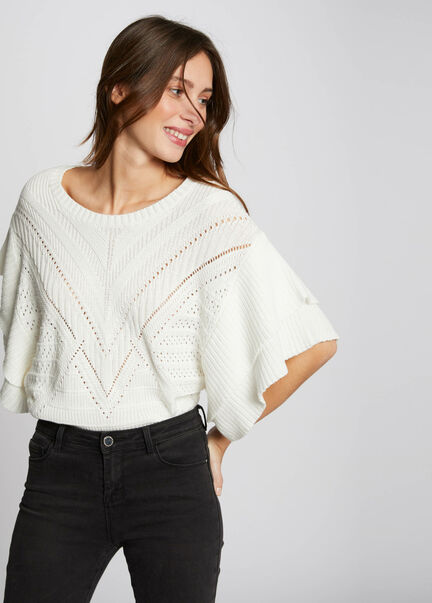 Pull manches 34 amples ajoure blanc femme