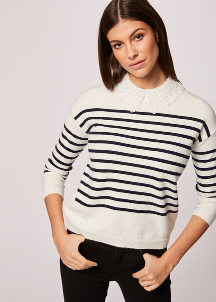 Pull manches longues raye col dentelle ecru femme
