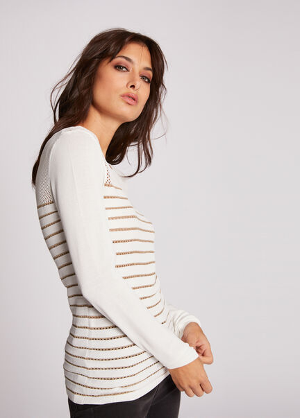 Pull manches longues ajoure a rayures ecru femme