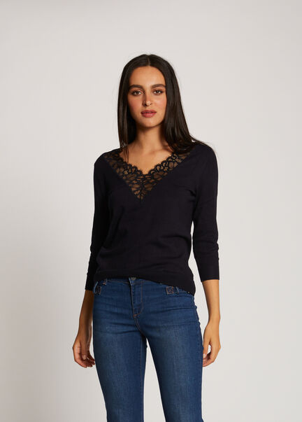 Pull manches 34 a dentelle marine femme