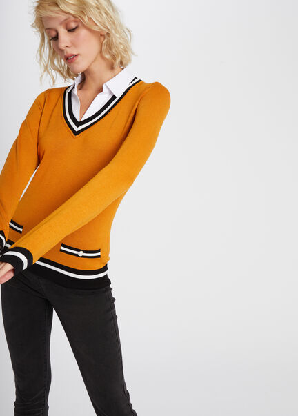 Pull manches longues detail perle camel femme