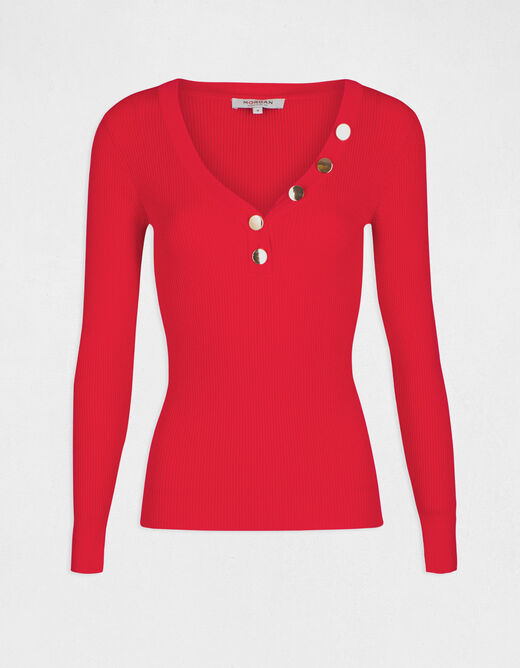 Pull manches longues boutons rouge femme