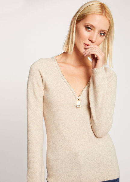 Pull manches longues detail zippe beige femme