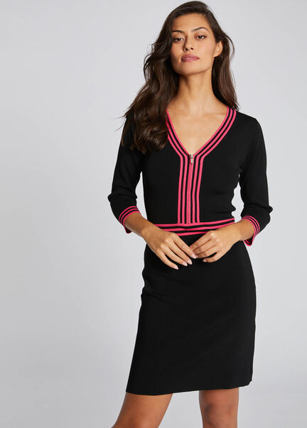 Robe pull droite a manches 34 rose femme