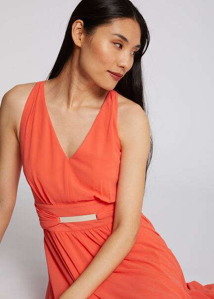 Robe longue evasee fluide dos ouvert corail femme