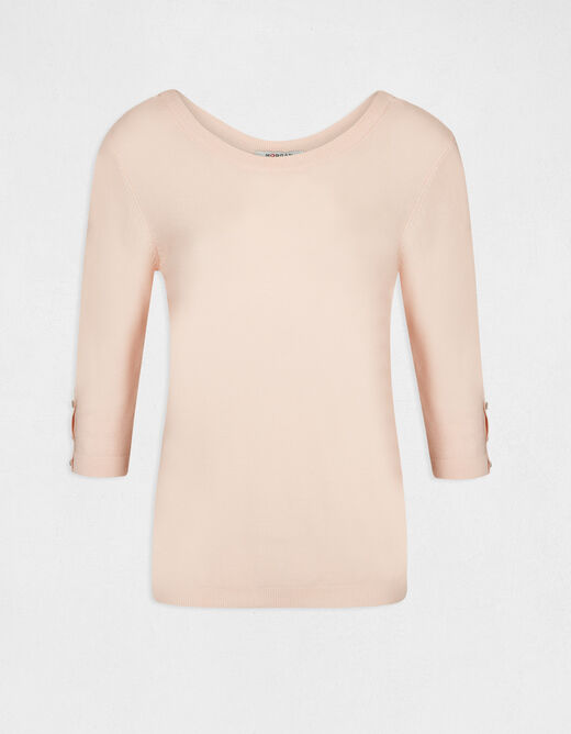 Pull manches 3/4 avec dos ouvert rose pale femme