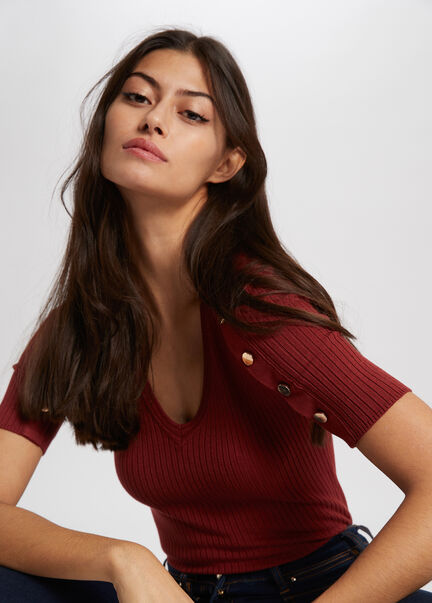 Pull manches courtes avec boutons rouge vin femme