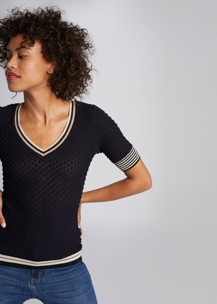 Pull manches courtes tricotage ajoure marine femme